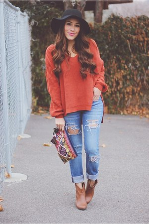 burnt orange Sheinside sweater - burnt orange AmiClubWear boots