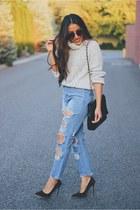 blue denim Sheinside jeans - heather gray Sheinside sweater