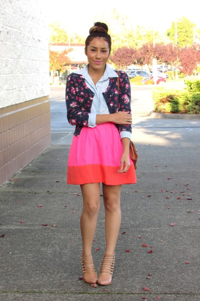 bubble gum Choies skirt - cardigan - nude Forever 21 heels