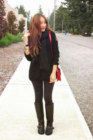 black Charlotte Russe boots - black sweater