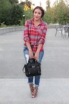black VJ-style bag - VJ-style bracelet - red material girl t-shirt
