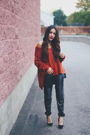 brick red Sheinside sweater - black leather Sheinside pants