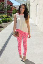 neutral blouse - hot pink Forever 21 jeans - neutral UrbanOG heels