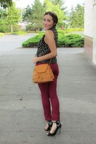 tawny OASAP bag - ruby red jeans - black heels