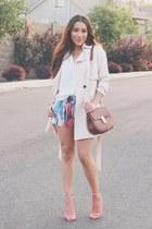 eggshell coat - aquamarine Guess shorts - salmon AmiClubWear heels