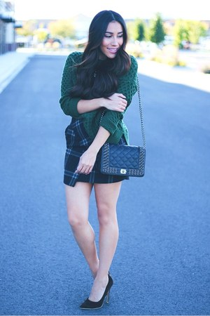 charcoal gray plaid skirt - dark green Sheinside sweater