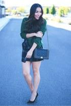 charcoal gray plaid skirt - dark green Sheinside sweater