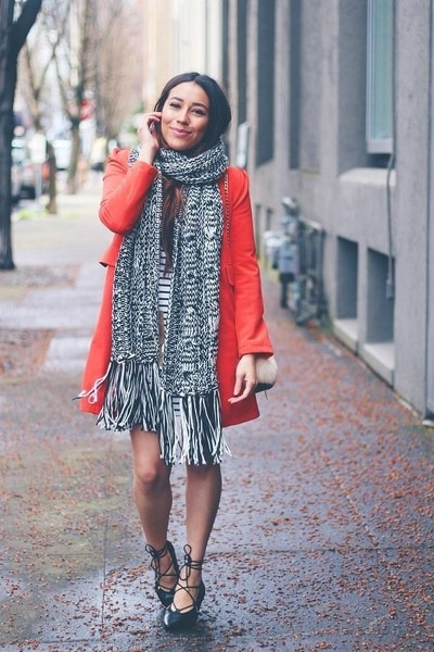 red coat - black Forever 21 scarf - black lace up Fashionjunkee flats