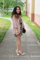 neutral Forever 21 blazer - black rachel roy dress - neutral heels