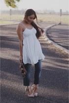 white Sheinside dress - beige JustFab heels