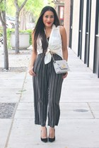 silver AmiClubWear bag - black suede AmiClubWear pumps - striped pants