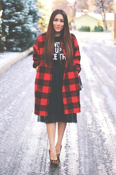 red plaid Relaxfeel coat - black asos heels