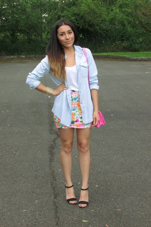 bubble gum Choies skirt - light blue Choies shirt - bubble gum Target bag