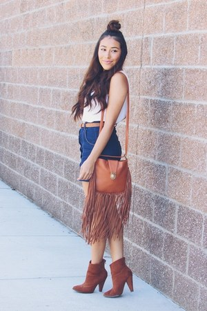 tawny Forever 21 boots - tawny Sheinside bag - navy denim romwe skirt