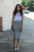 white Choies t-shirt - black Similar skirt - silver heels