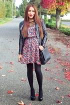 ruby red romwe dress - black Steve Madden pumps