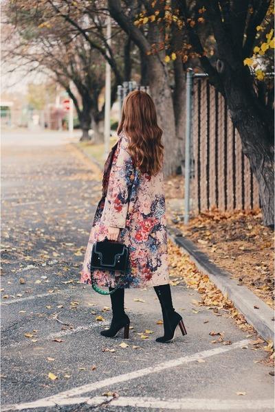 tan floral Rosegal coat - black AmiClubWear boots - black bag