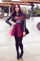 maroon Chicwish skirt - black jacket