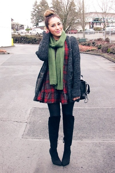 ruby red OASAP dress - army green PERSUNMALL scarf - dark gray romwe cardigan