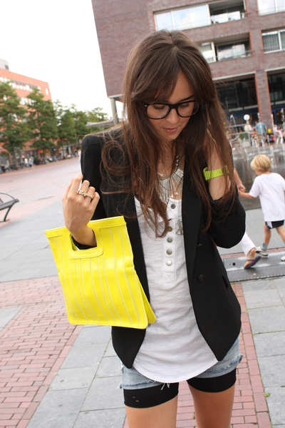 yellow H&M purse - black Zara blazer