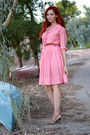 Red-vintage-gingham-barbara-lee-fashion-dress-nude-chinese-laundry-heels