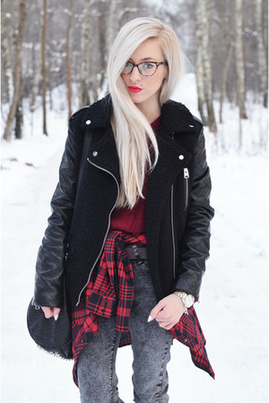 tartan shirt shirt - boots - jeans - jacket jacket