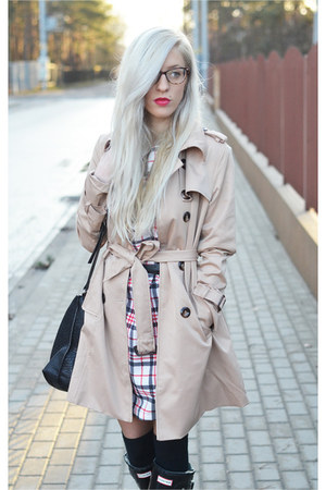 tartan dress - brown leather watch