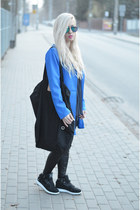 blue coat - striped blouse