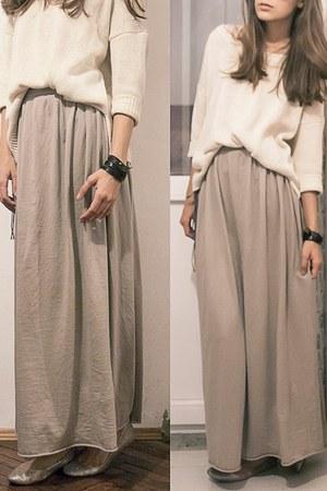 jersey maxi DIY skirt - golden knit Mango sweater - golden flats H&M flats