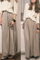 jersey maxi DIY skirt - golden knit Mango sweater - golden flats H&M flats