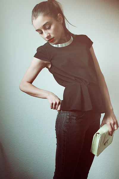 black peplum H&M top - lime green H&M bag - silver collar H&M necklace