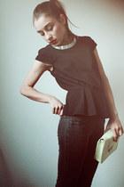 black peplum H&M top - lime green H&M bag - silver collar H&M necklace