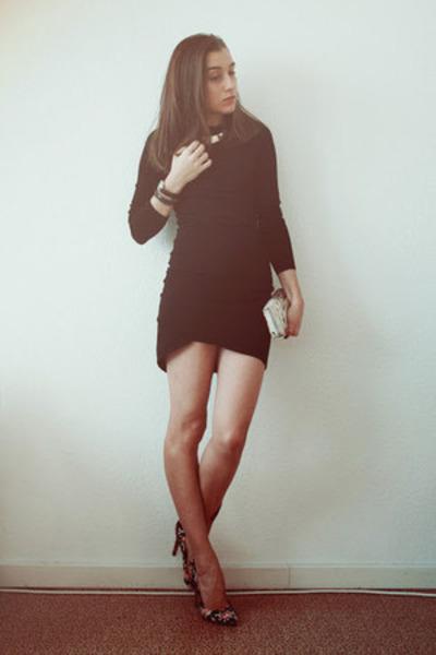 black Mango dress - black asos heels - silver H&M necklace
