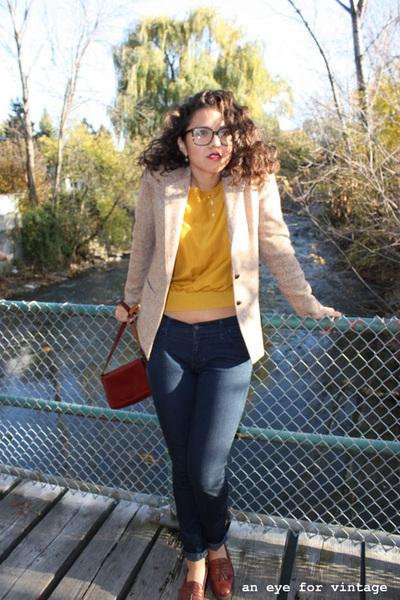 brown vintage blazer blazer - crimson vintage purse - bronze vintage oxford shoe