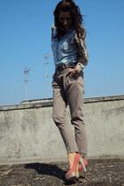 Zara shirt - Zara pants - Bershka cardigan - asos heels