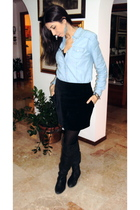 blue Zara shirt - black H&M skirt - black Calzedonia tights - black Zara boots -