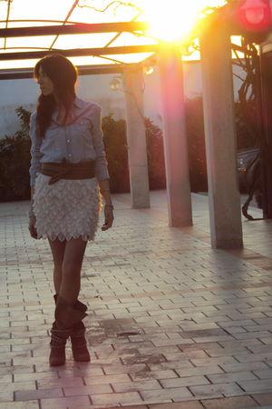 blue Zara shirt - beige asos skirt - beige Zara boots - beige belt
