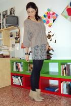 beige Zara sweater - Mango skirt - Calzedonia tights - beige Zara boots
