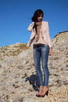 pink Zara blazer - pink Zara t-shirt - blue Zara jeans - pink Schutz shoes - bro