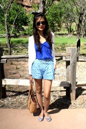 camel coach bag - random from thailand shorts - white Calliope cardigan - blue B