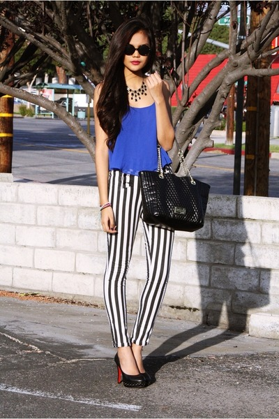 Kenneth Cole bag - stripe skinny Forever 21 pants - studded Parisian pumps