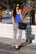 Kenneth Cole bag - stripe skinny Forever 21 pants - studded Parisian pumps