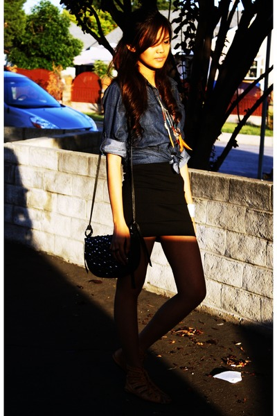 navy denim from my mom top - black bandage People are People skirt - burnt orang
