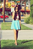 sky blue skater Tangerine Manila skirt - navy beaded Payless flats