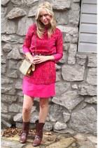 alloycom boots - isaac mizrahi dress - vintage bag - tre vero belt