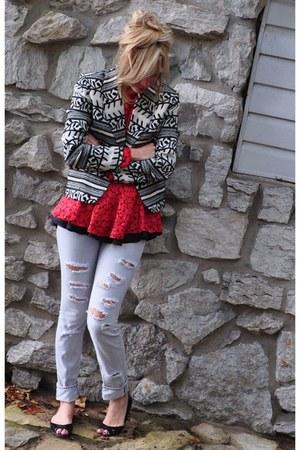 vintage blazer - express jeans - vintage blouse