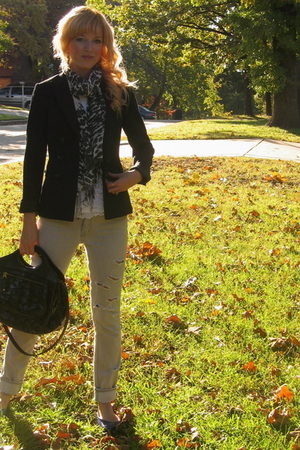 Antonio Melani blazer - Express jeans - Target purse - Marshalls scarf