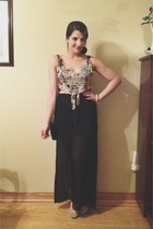 black unknown skirt - black Aldo purse - peach American Eagle top