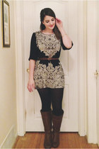 brown unknown boots - black unknown dress - black H&M tights