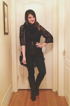 black unknown boots - navy American Eagle jeans - black H&M scarf